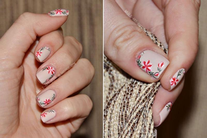 Folk flowers nail art by bopp