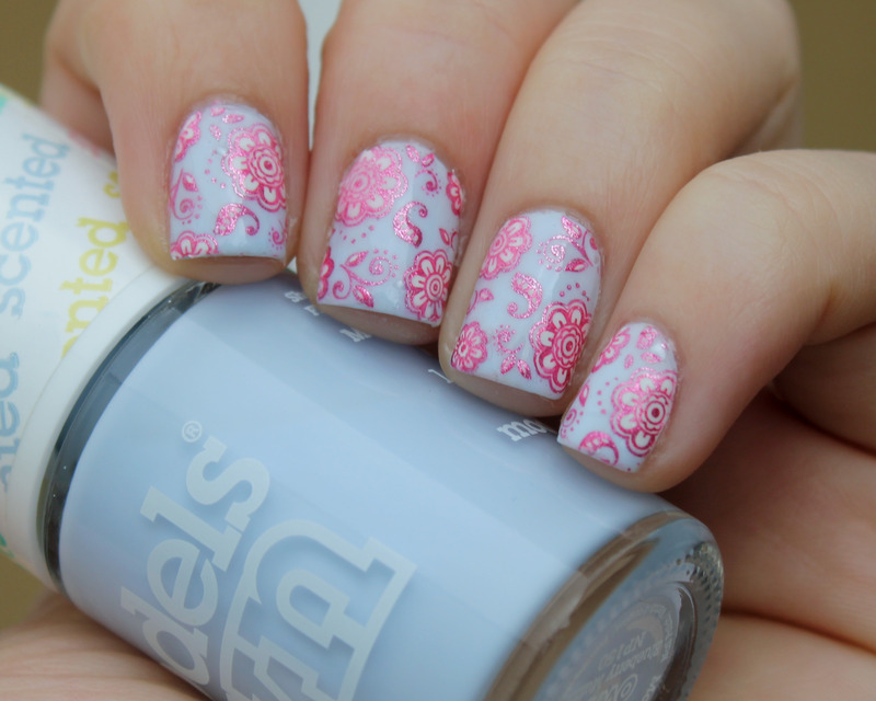 Pink Flowers nail art by Moriesnailart