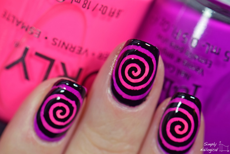 Round gradient cyclones nail art by simplynailogical