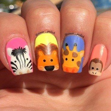 Zoo nails nail art by Christina