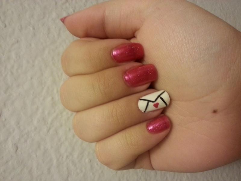 Valentine Love Letter nail art by KiboSanti