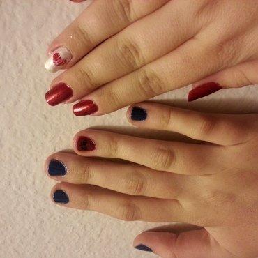Bestie Twin Nails: Crackle Hearts nail art by KiboSanti