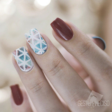 Marsala, Teal and Triangles nail art by Gi Milanetto