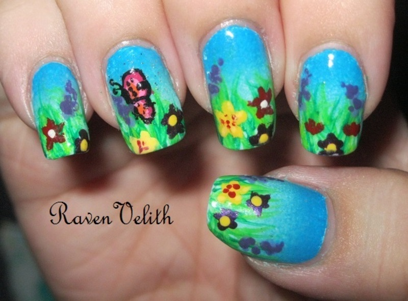 Spring Flower Fields nail art by Lynni V.