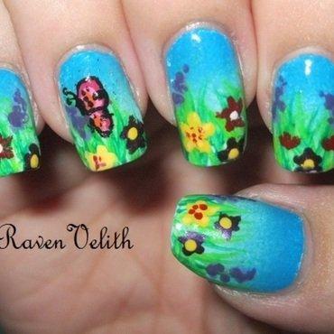 Spring Flower Fields nail art by Lynni V.
