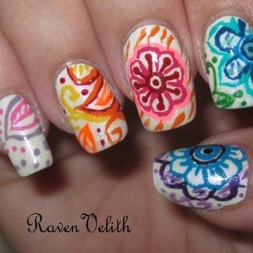 Rainbow Doodle-esque Flowers nail art by Lynni V.