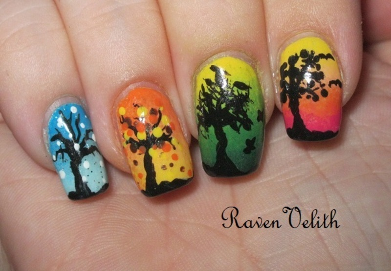 Four Seasons nail art by Lynni V.