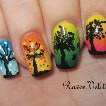 Four Seasons nail art by Lynni V.