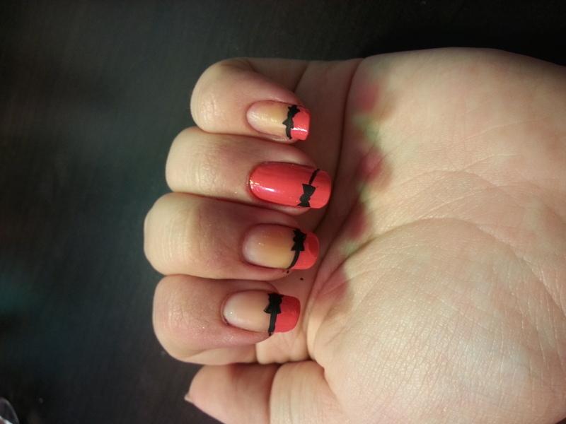 Pink and Black Bows nail art by KiboSanti