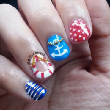 cute negative space nautical nails nail art by mindywong