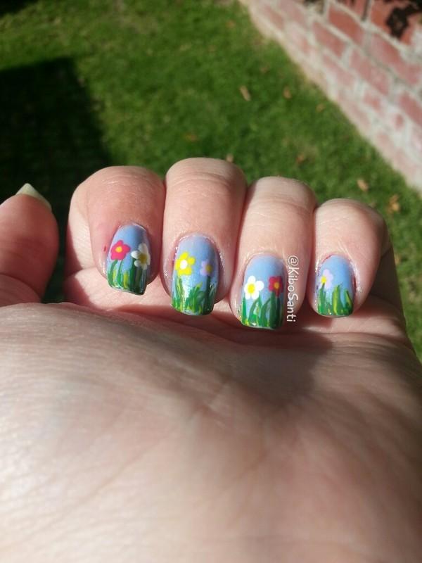 Spring Flowers nail art by KiboSanti