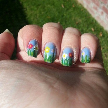 Spring Flowers nail art by KiboSanti
