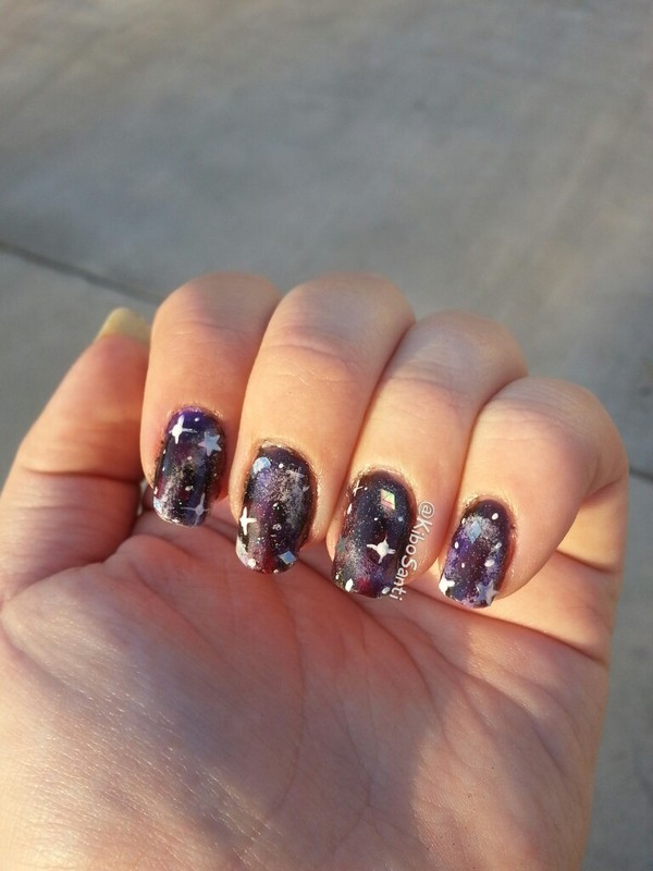 Galaxy with Holo glitter nail art by KiboSanti