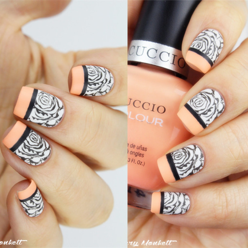 Fabulous French Rose Stamping Nails nail art by Born Pretty