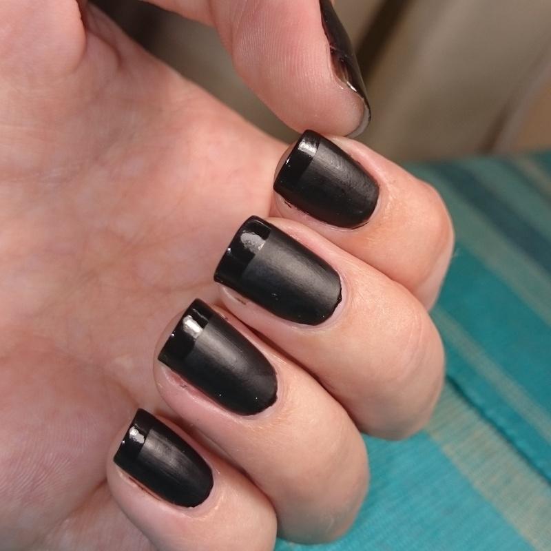 Matte Black Manicure nail art by Nadia Joubert