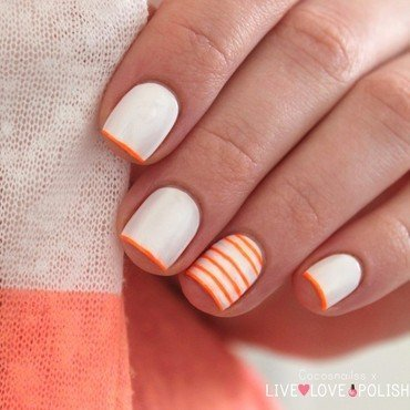 Neon stripes nail art by Cocosnailss