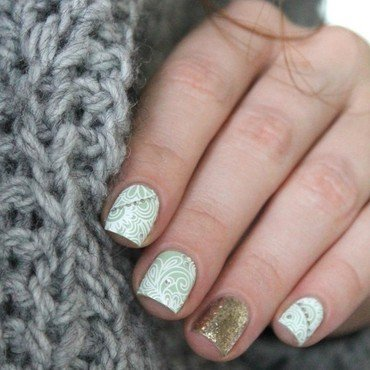 Mint winter nail art by Cocosnailss