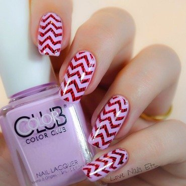 Chevron striped nail art by Love Nails Etc