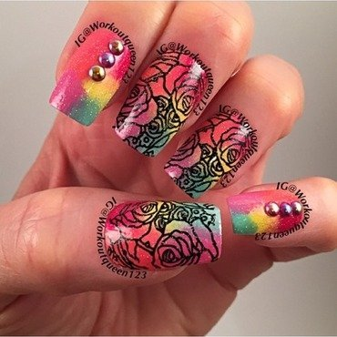 Roses  nail art by Workoutqueen123