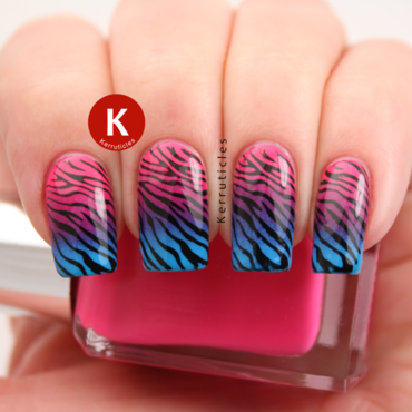 Pink, purple and blue gradient zebra nails nail art by Claire Kerr