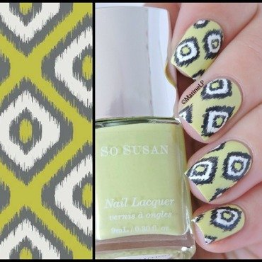 Green and Grey Ikat nail art by Marine Loves Polish