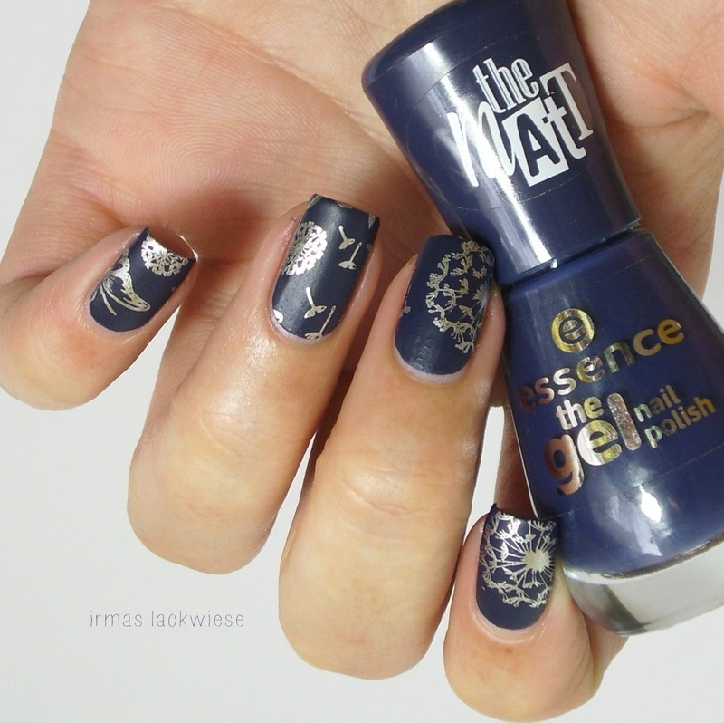 dandelion stamping nail art by irma