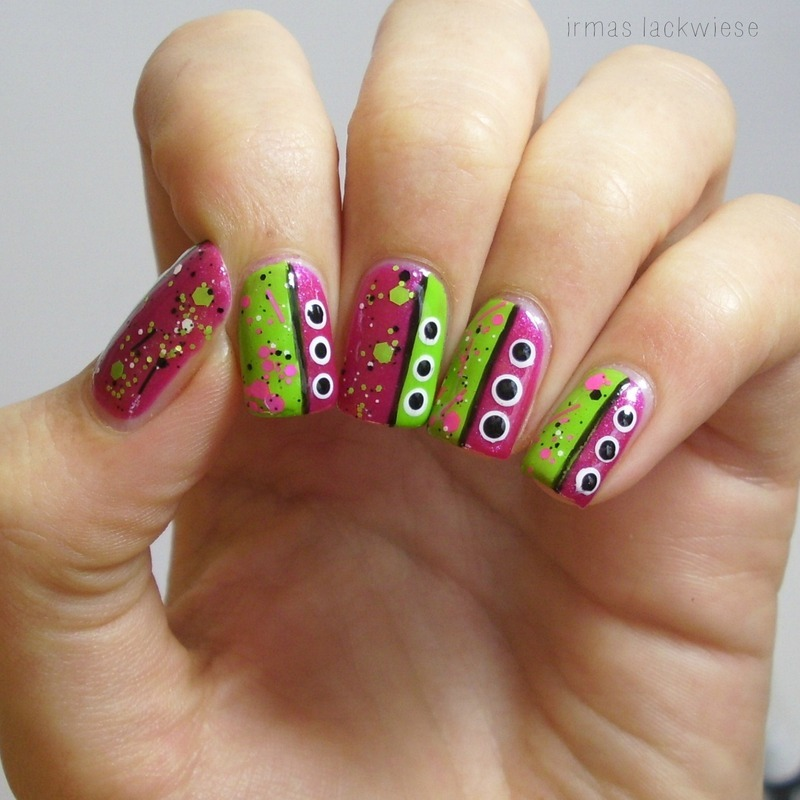 neon pink & green splatter nails nail art by irma