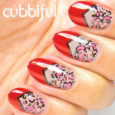 Red Chevron and Leopard Print Nails nail art by Cubbiful