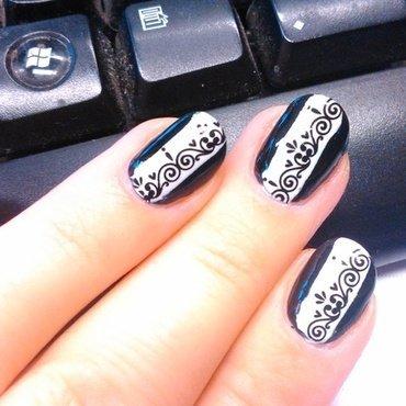 B&W lace nail art by Nail Crazinesss