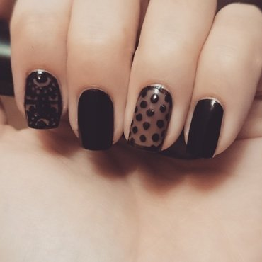 Black Lace Manicure nail art by Nadia Joubert