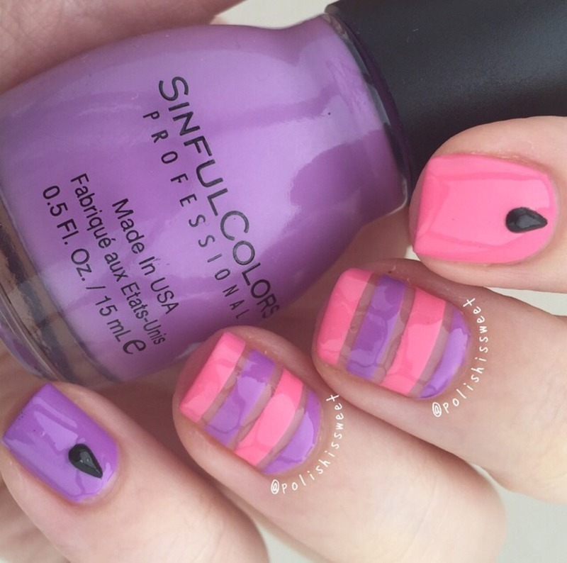Spring Inspired Negative Space Stripes! nail art by PolishIsSweet
