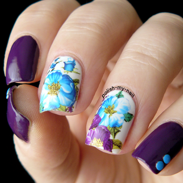Floral decals nail art by Ewlyn