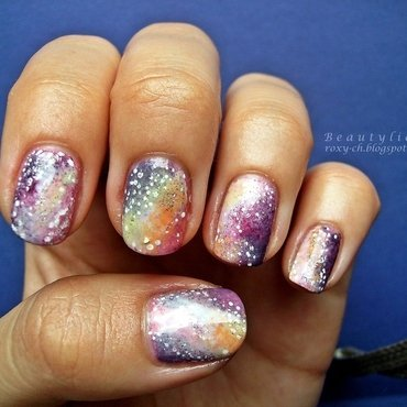 Galaxy of rainbows nail art by Roxy Ch