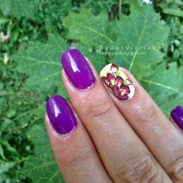 Purple beauty nail art by Roxy Ch