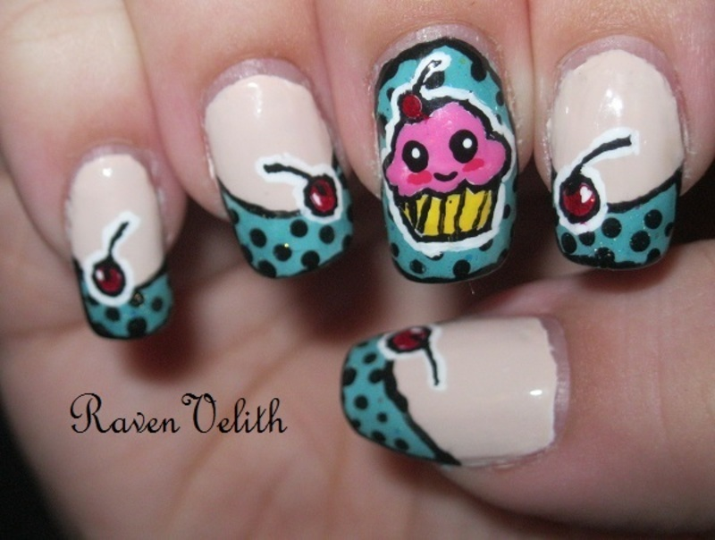 Pop Art Cupcake nail art by Lynni V.
