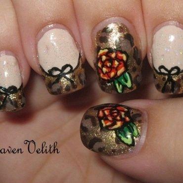 Leopard Print Roses nail art by Lynni V.