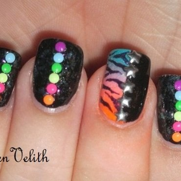 Neon Zebra Studs nail art by Lynni V.