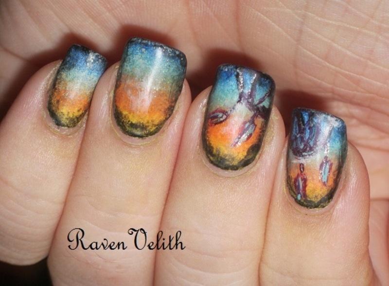 Dreamcatchers nail art by Lynni V.