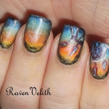 Dreamcatchers nail art by Lynni V.