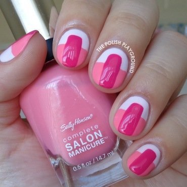 Pink on Pink Color Block Nails nail art by Lisa N