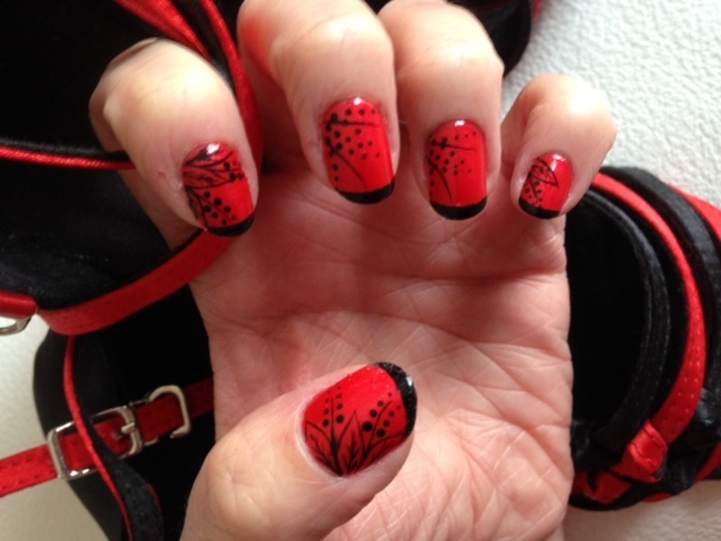 Friday night tango time nail art by Eleadora