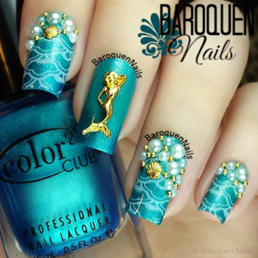 Mystical Mermaid nail art by BaroquenNails