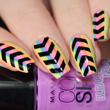 Funky neon stripes and black chevrons nail art by simplynailogical