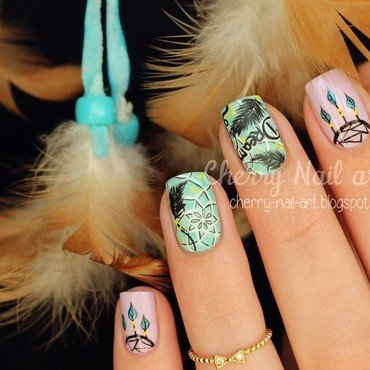 Nail art dreamcatcher nail art by Cherry Nail art