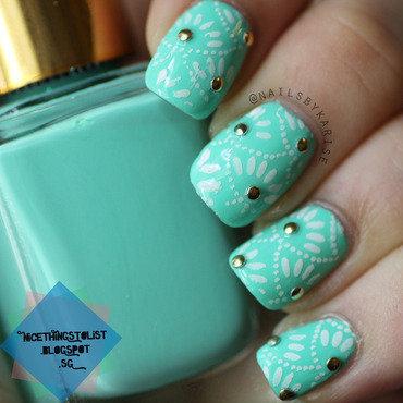 Mint stamping studs nail art thumb370f