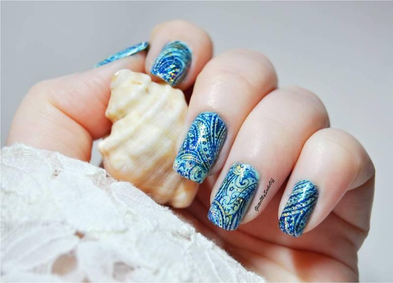 Sparkle my blues  nail art by GlitterMySocksOff
