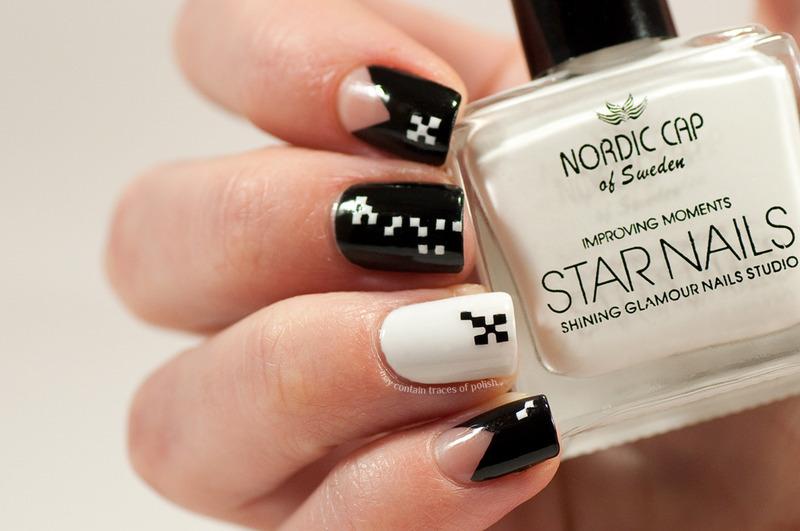 Black and white miniature squares nail art by Zara TracesOfPolish
