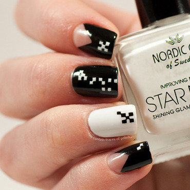 Black and white miniature squares nail art by Zara TracesOfPolish