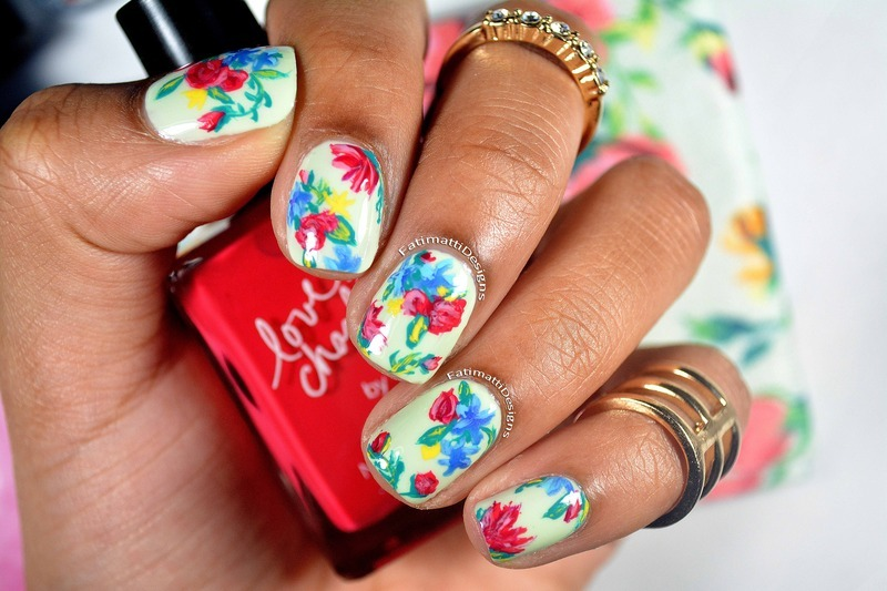 Spring Flower Print nail art by Fatimah