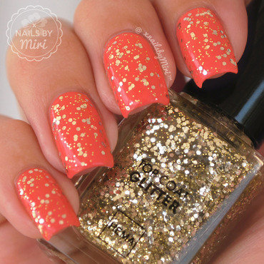 Milani Colorful Coral and Hema Glitter Top Coat #23 Swatch by xNailsByMiri